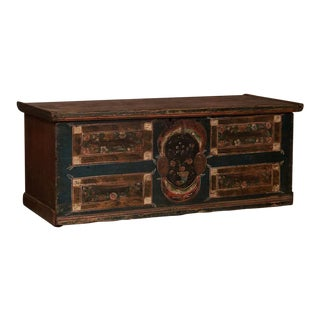 19th Century Antique Flat Top Trunk From Hungary For Sale