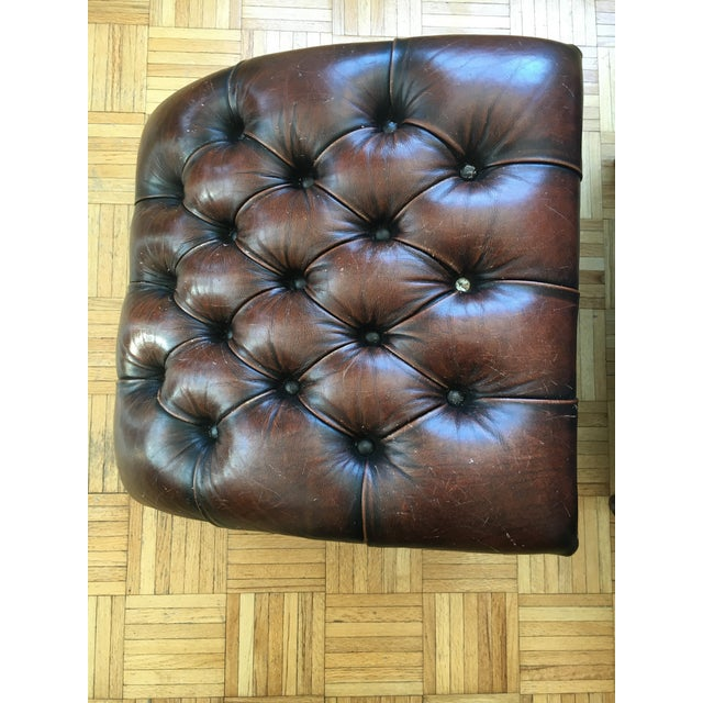 Leather Brown Chair & Foot Stool - Image 3 of 5