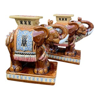 Hollywood Regency Elephant Garden Stools Side Tables - a Pair For Sale