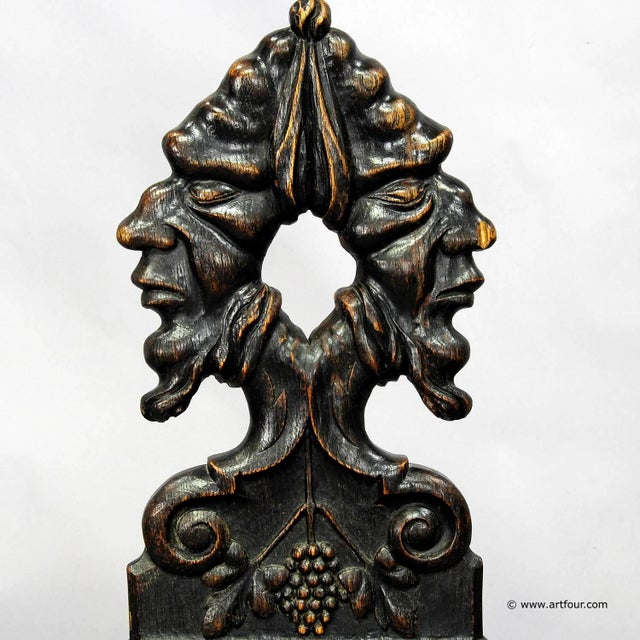 Renaissance A Pair Renaissance Style Carved Chairs Ca. 1890 For Sale - Image 3 of 7