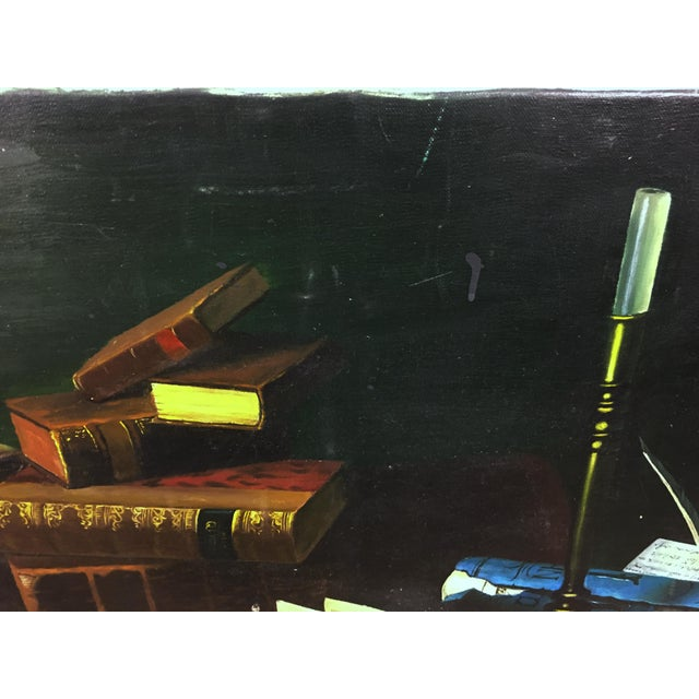 A Hand painted piece of original artwork in an Edward Collier Style. The painting depicts a myriad of study items,...
