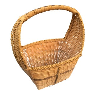 Vintage Large Flat Weaved Wood Basket For Sale