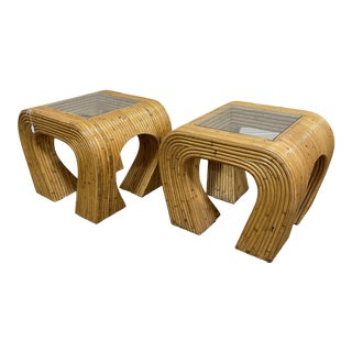 Crespi-Style Pencil Reed Bamboo Waterfall End Tables - a Pair For Sale