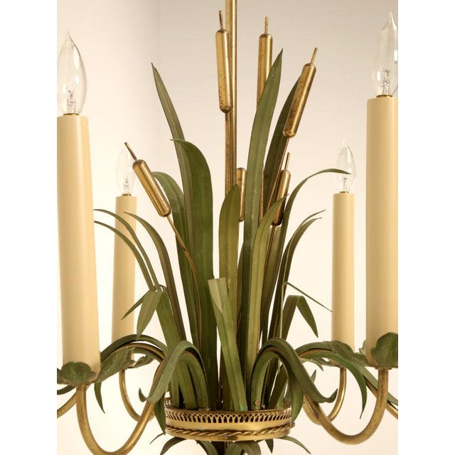 Vintage Continental 6-Light Metal Cattail Chandelier For Sale - Image 11 of 11