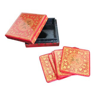 Vintage Hand-Painted Chinoiserie Coasters and Wooden Storage Box - Set of 6 For Sale