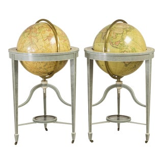 An Exceptional Contemporary Pair of Bespoke Shagreen Globes For Sale