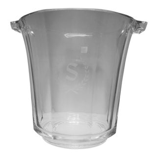 "French Crystal Ice Bucket ""S"" Monogram For Sale"