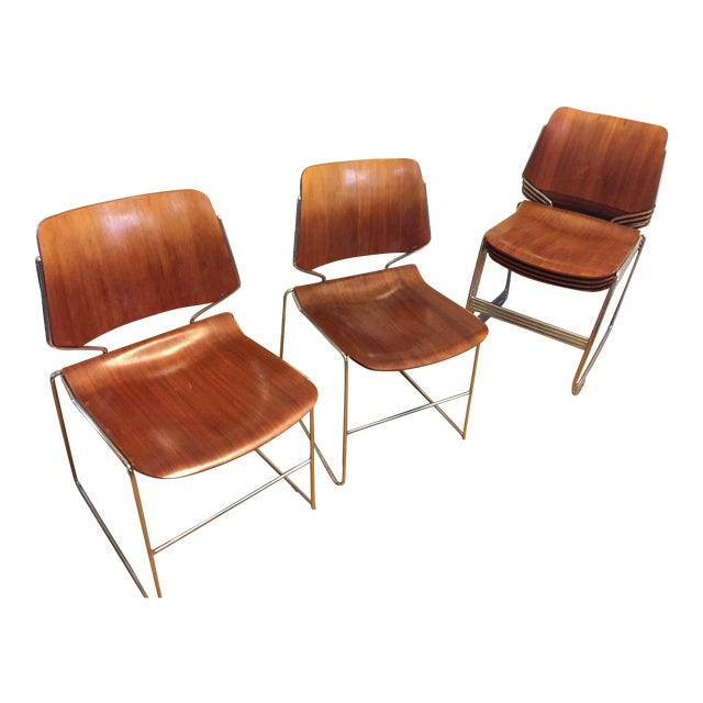 molded plywood stacking chairs set of 6 chairish