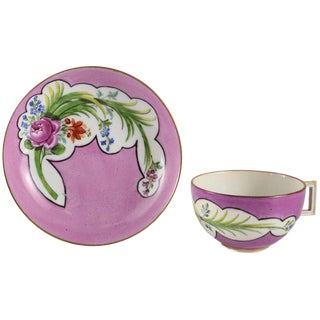 1800 Meissen Marcolini Hand-Painted Pink Rose Porcelain Cup and Saucer - 2 Piece Set