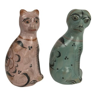 Vintage Mexican Tonala Pottery Cat and Dog Figurines - a Pair For Sale