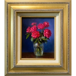 Framed Roses Painting For Sale