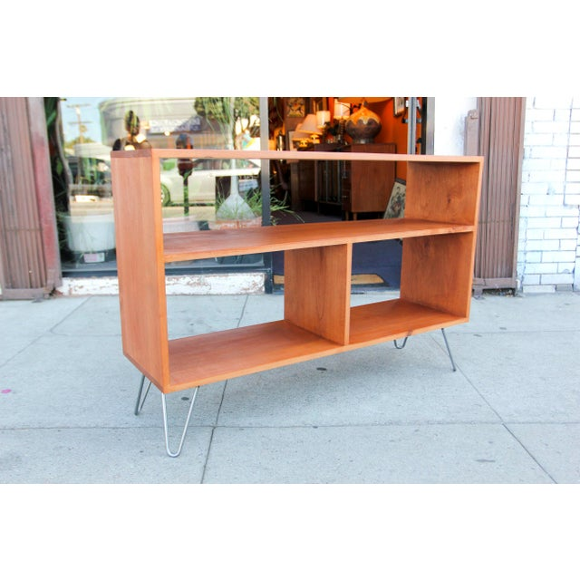 Burnt Orange Mid-Century Modern Solid Wood Hair Pin Leg Credenza For Sale - Image 8 of 12