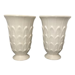Vintage White Haeger Vases - a Pair For Sale