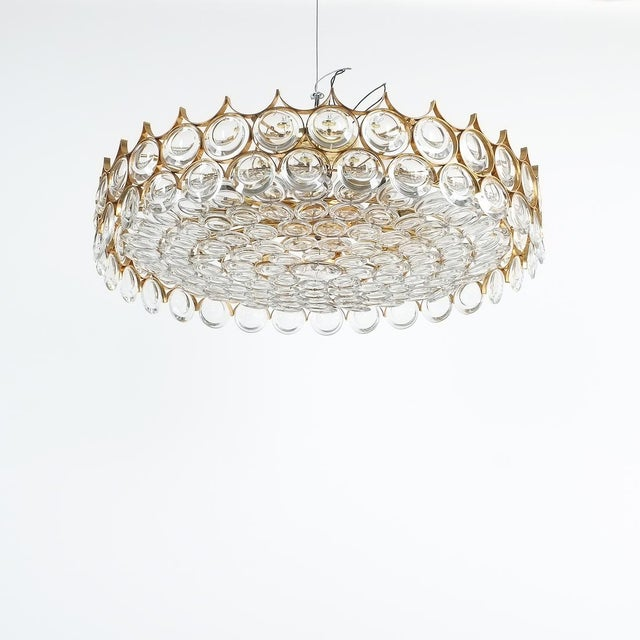 Palwa Xxl Refurbished Gold Plated Brass and Glass Semi Flush Mount Lamp For Sale - Image 13 of 13