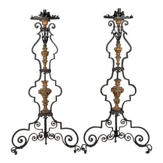 19th Century Antique Italian Wrought Iron Torchieres - A Pair For Sale