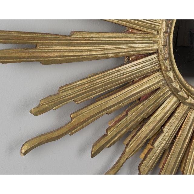 Italian Vintage Mid-Century Italian Giltwood Sunburst Mirror For Sale - Image 3 of 8
