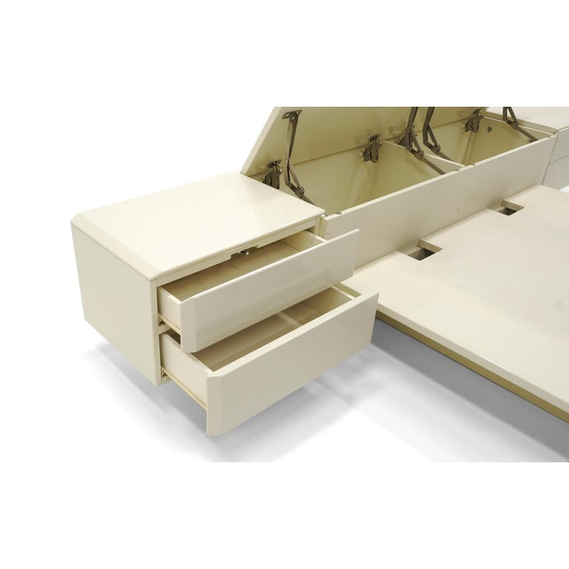 Lacquer Queen Ivory Platform Bed with Attached Nightstands & Headboard Storage, Rougier For Sale - Image 7 of 11