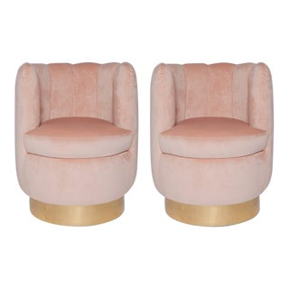Pair of French Blush Pink Velvet Chairs For Sale