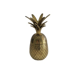 Vintage 7 Inch Brass Pineapple Cocktail Shaker Box For Sale