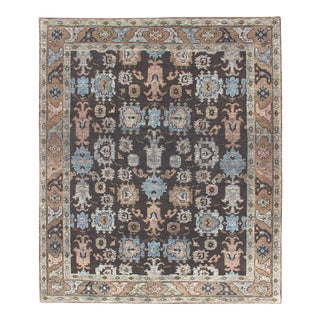 Charcoal and Black Background Distressed Rug With Multi-Colored in Transitional and Modern Design For Sale