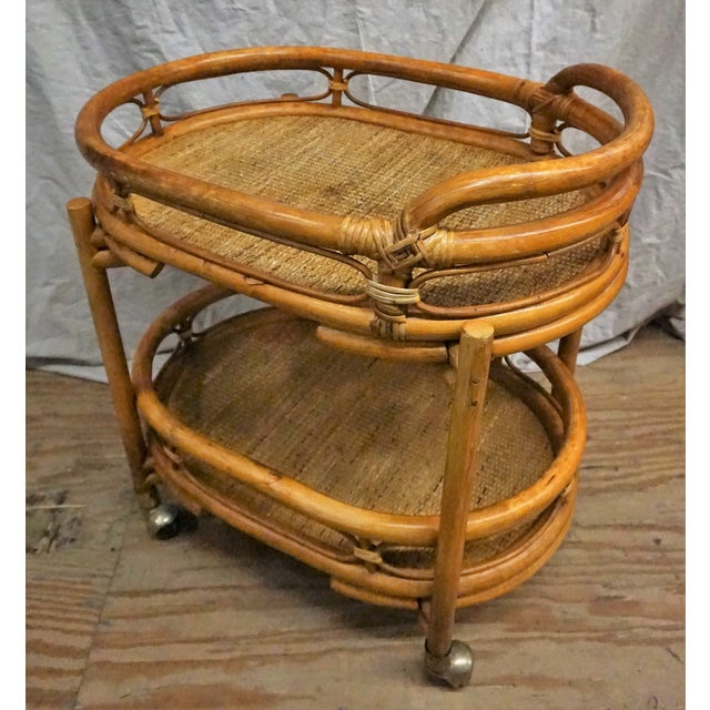 Vintage 1970s Bamboo Bar Cart - Image 4 of 5