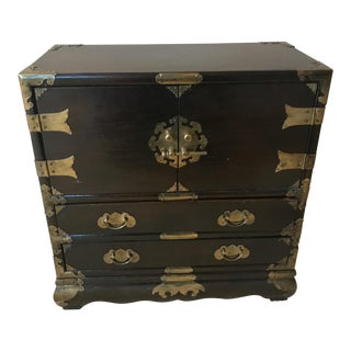 Vintage 1972 Chapman Oriental Chinese Wood Brass Jewelry Armoire Chest