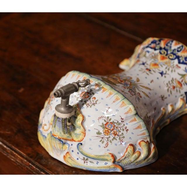 Early 20th Century, French Hand-Painted Wall Faience Lavabo Fountain From Rouen For Sale In Dallas - Image 6 of 9