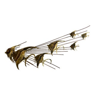 Brass Fish Wall Sculpture For Sale