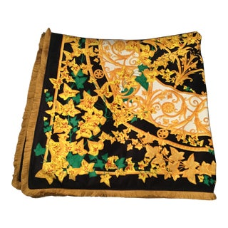 Gianni Versace Custom Made Mendoza Head Green & Gold Velvet Throw For Sale