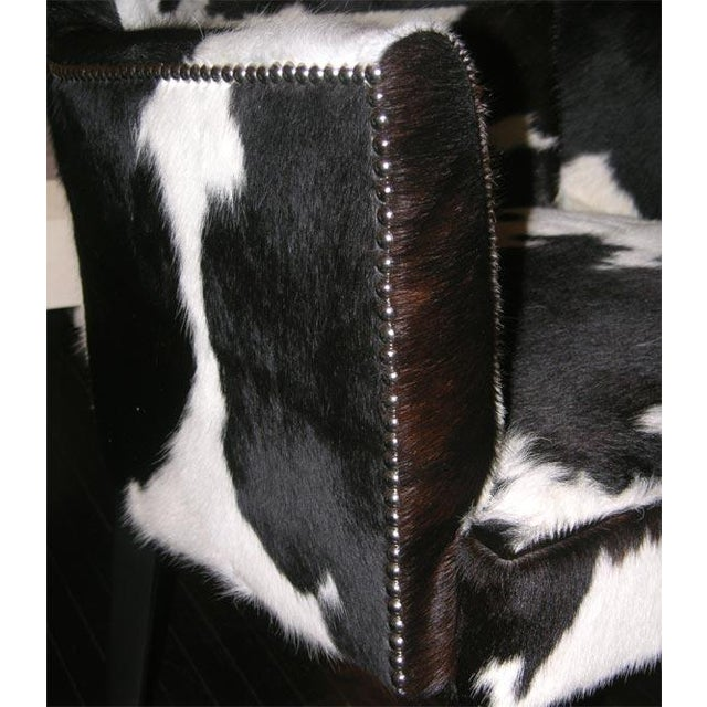 2000s Pair of Custom Black and White Spotted Cowhide Deco Chairs For Sale - Image 5 of 8