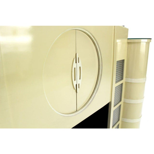 Lacquer White Lacquer Mid-Century Modern Style Faux Fireplace Mantel Dry Bar For Sale - Image 7 of 9