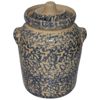 20th Century Ransbottom Spongeware Cookie Jar For Sale