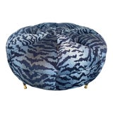 Image of Mid-Century Modern Ottoman, Circa 1950s Newly Upholstered in Blue Tiger Velvet For Sale