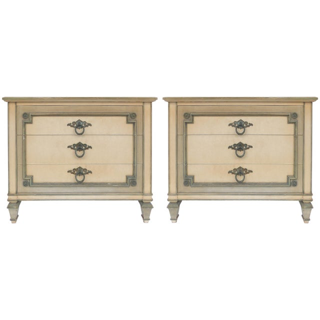 John Widdicomb Hand Painted Night Tables With Drawers, Pair For Sale - Image 13 of 13