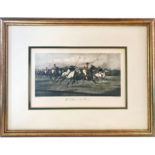 "Vintage Equestrian Etching ""A Gallop on the Boards"" Polo Print For Sale"