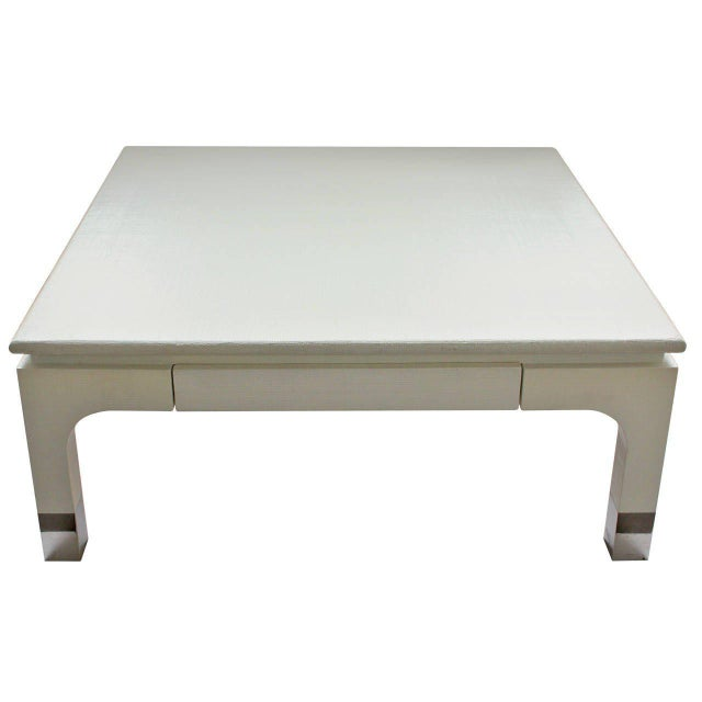 1980s Harrison-Van Horn Modern Lacquered Raffia Coffee Table For Sale In Chicago - Image 6 of 6