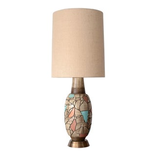 Mid Century Modern Brutalist Ceramic Mosaic Table Lamp For Sale