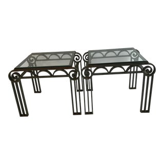 Art Deco Iron Side Tables - a Pair For Sale