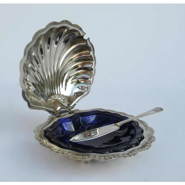 1960s Hollywood Regency English Silver Plate Caviar Serving Dish With Cobalt Blue Glass Liner - 3 Pieces For Sale - Image 5 of 13