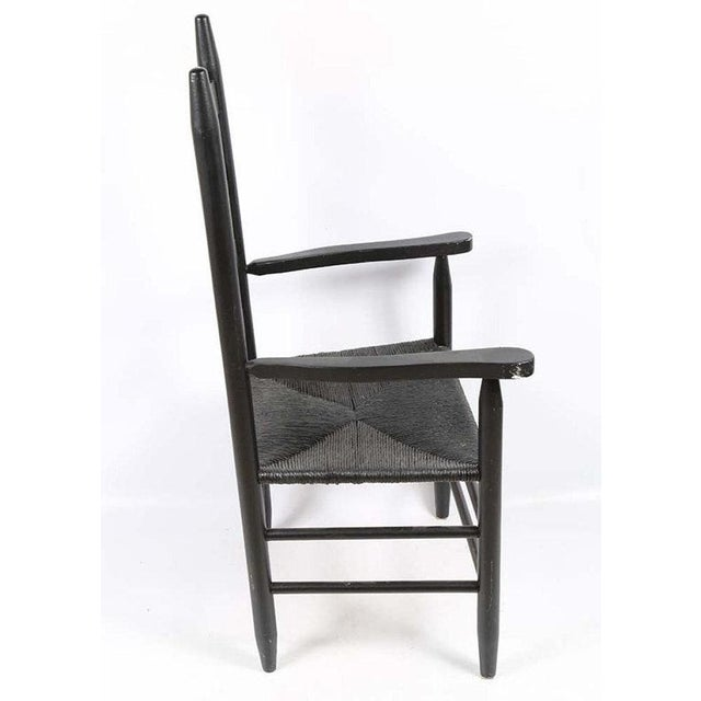 Vintage Country Farmhouse Rush Seat Ladder Back Black Dining Chairs - Set of 6 For Sale In Philadelphia - Image 6 of 8