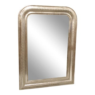 Antique French Louis Philippe Silver Leaf Mirror For Sale