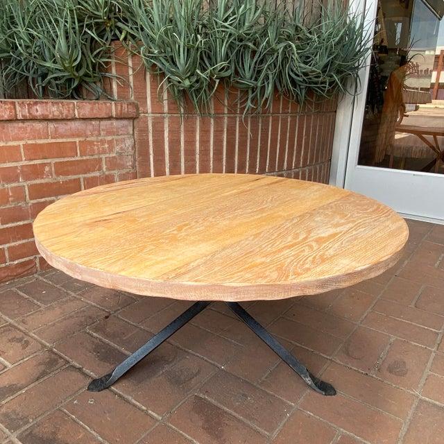Cleo Baldon Cleo Baldon Wrought Iron and Whitewashed Oak Coffee Table For Sale - Image 4 of 12