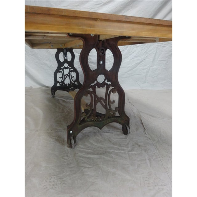 Antique Swedish Iron Base Dining Table For Sale - Image 5 of 6