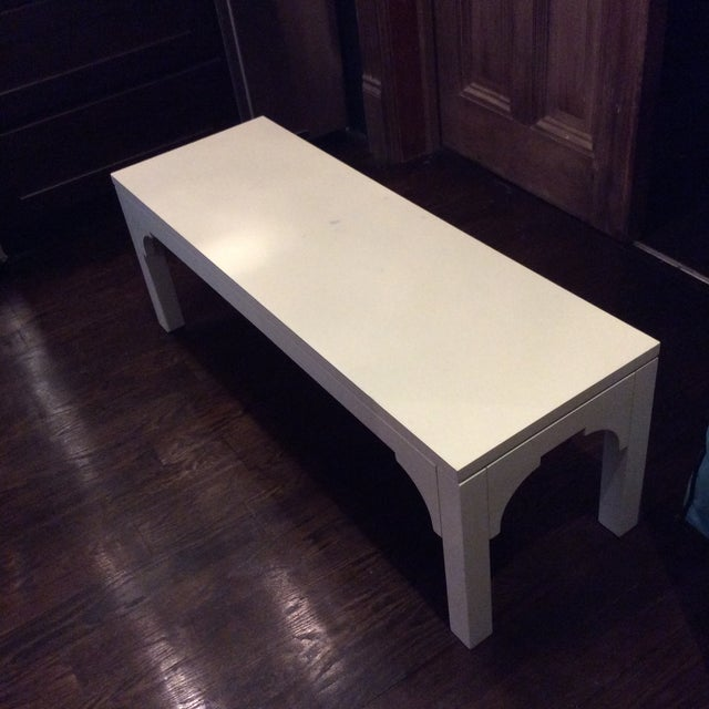 Restoration Hardware White Bench - Image 3 of 8