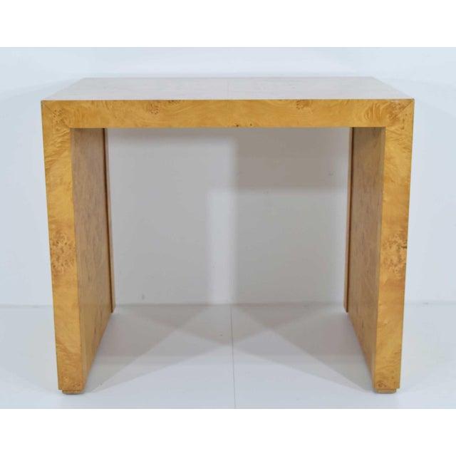 Milo Baughman 1970s Milo Baughman Burl Wood Side Table For Sale - Image 4 of 12