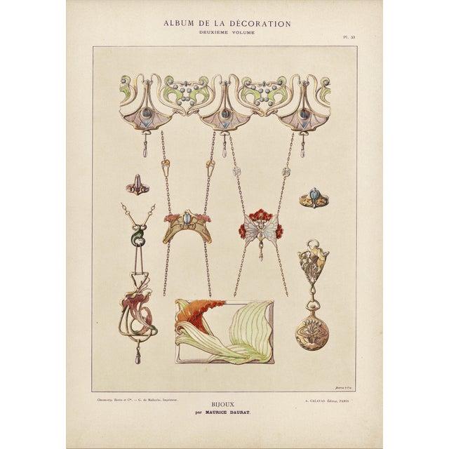 Art Nouveau Jewelry Design Lithograph For Sale