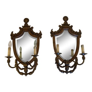 Handsome Shield Back Mirror Two-Arm Sconces With Bronze Medallion Top - a Pair For Sale