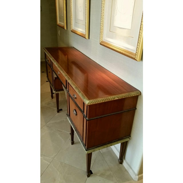Inlaid Wood Credenza with Gold Leaf Trim - Image 3 of 3