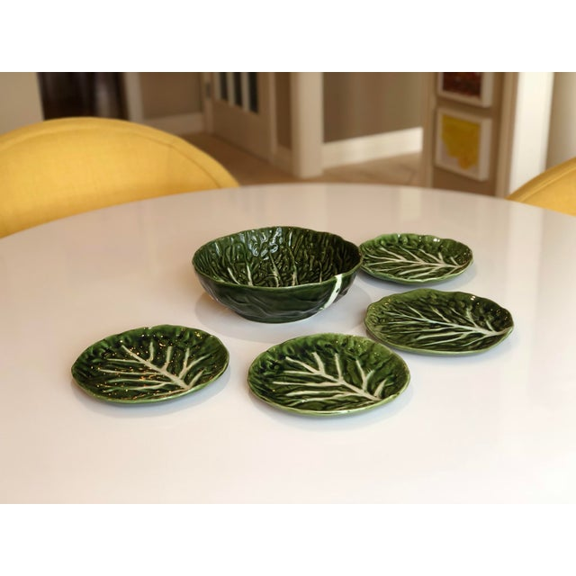 Boho Chic Vintage Green Cabbage Ware Vegetable Tabletop Plates and Bowl – Set of 5 For Sale - Image 3 of 6