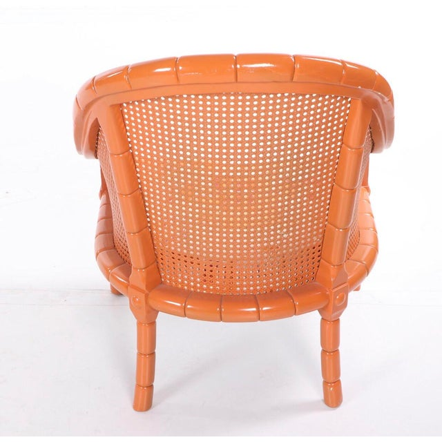 Mid 20th Century Vintage Mid Century Orange Lacquered Vintage Cane Bamboo Lounge Chairs- A Pair For Sale - Image 5 of 7